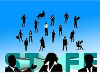 Silhouettes of business people and the word STAFF