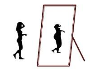drawing of slim figure standing in front of mirror of larger image