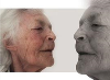 Profile views of elderly woman's face.